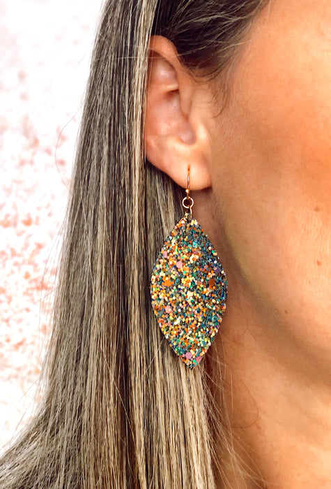 Green Sequin Marquise Drop Earrings