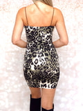 Olive Black Cheetah Leopard Dress