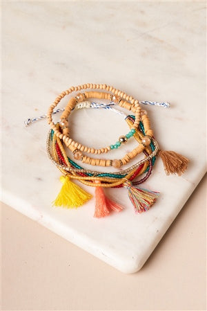 Khaki Multi-Colored Beaded Braceletes