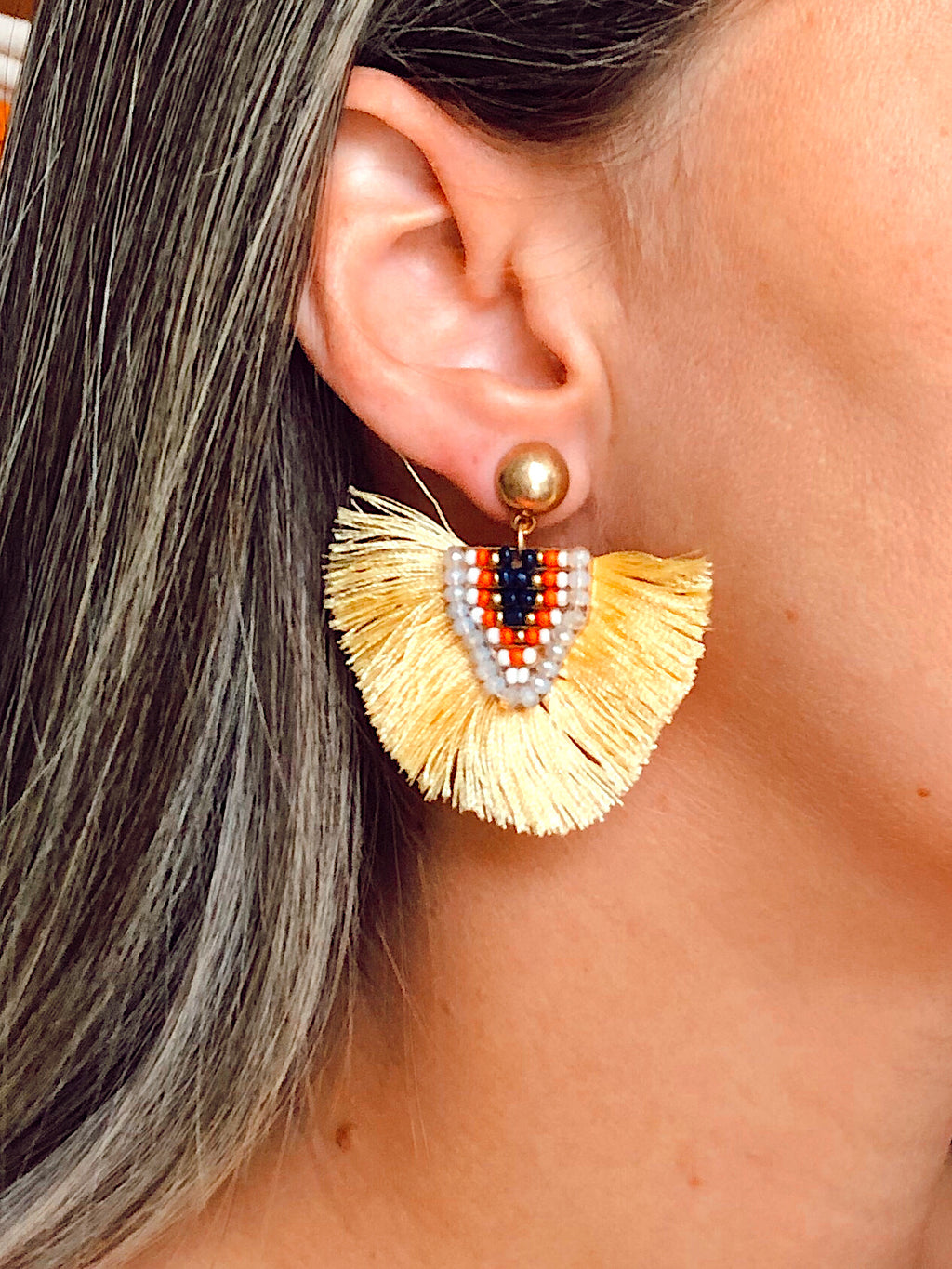Beaded Tribal Yellow Fringe Tribal Earrings