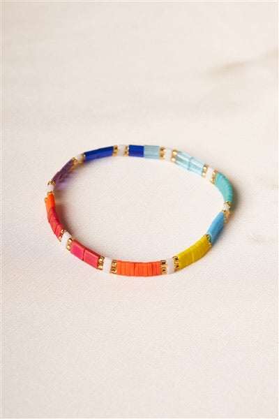 Tilu White Multi-Colored Beaded Bracelet
