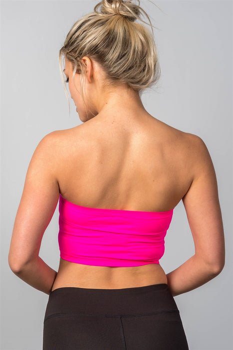 Neon Pink Classic Basic Crop Strapless Tube Top / One Size
