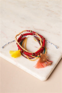 Burgundy And Multi-Colored Beaded Braceletes