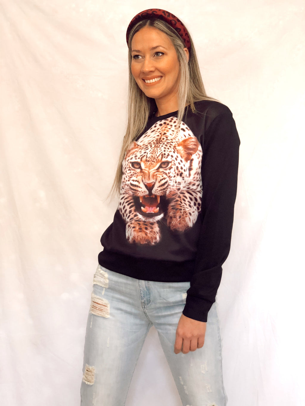 Black Animal Cheetah Print Long Sleeve Loose Sweatshirt