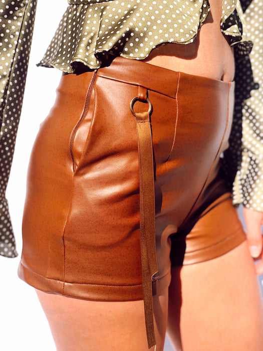 Camel Faux Leather Retro Mini Short