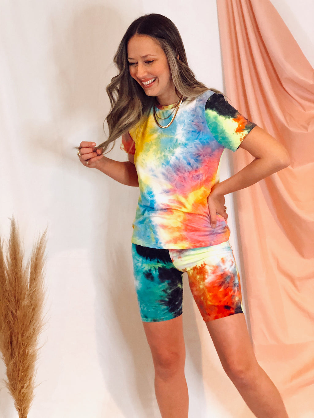 Multi Tie Dye Top & Short Set