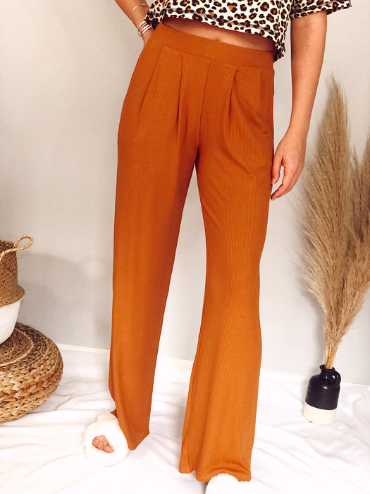 Honey Gold Ribbed Mid-Rise Wide Leg Pants