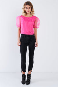 Elsa Hot Pink Puff Sleeve Retro Top