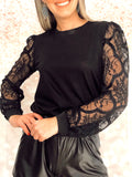 Elisa Black Lace Full Puff Sleeve Causal Office Chic Top