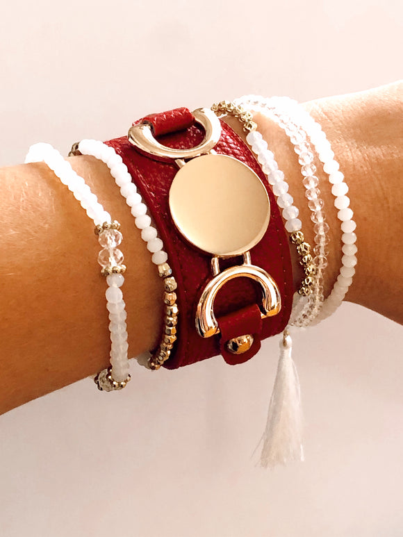 Leather Red Bracelet Gold Metal