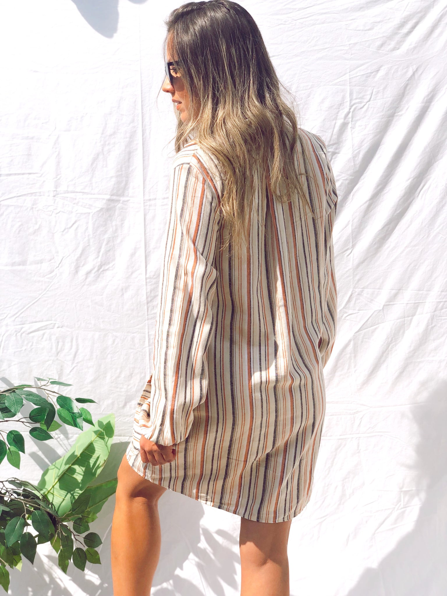 Bianca Stripe Front-Tie Long Sleeve Dress