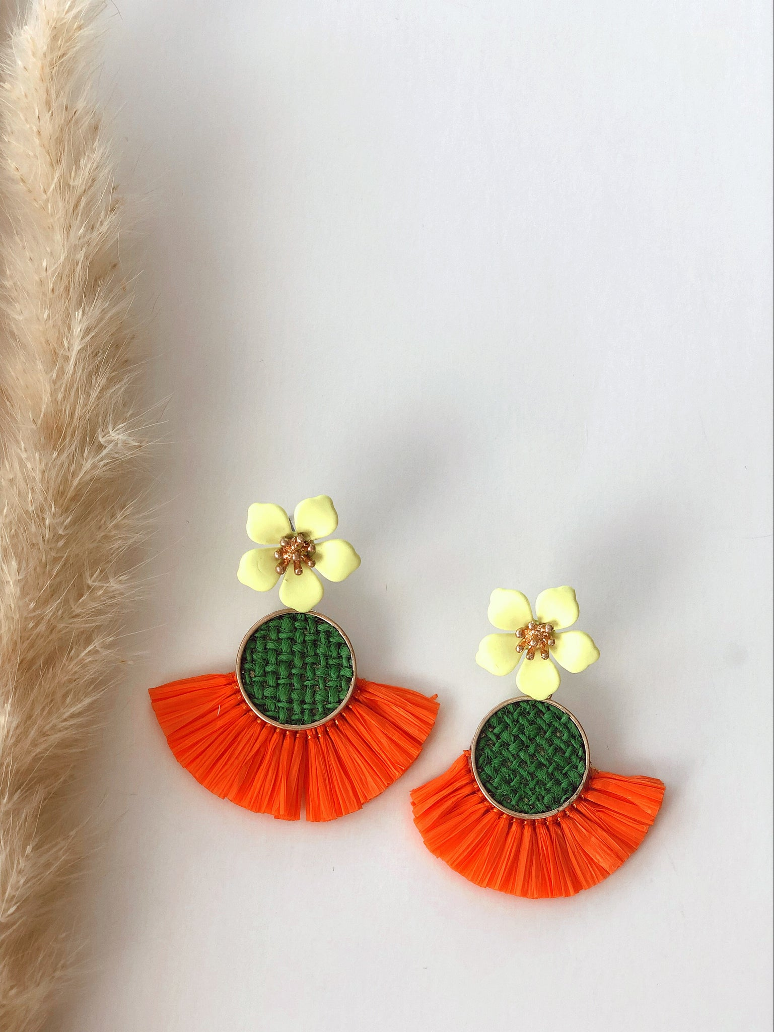 Floral Yellow Drop Earrings