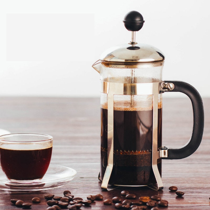 French Press, Stainless Steel + Borosilicate French Press Coffee Pot, Coffee Maker, Tea Pot 350ml 600mL