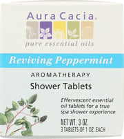 AURA CACIA: Aromatherapy Shower Tablets Reviving Peppermint 3 tablets (1 oz each), 3 oz - Kkdu Market