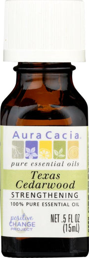 AURA CACIA: 100% Pure Essential Oil Texas Cedarwood, 0.5 Oz - Kkdu Market