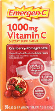 EMERGEN-C: Vitamin C Fizzy Drink Mix Cranberry Pomegranate 1000 mg, 30 packets - Kkdu Market
