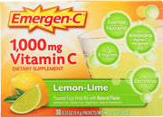 EMERGEN-C: Vitamin C Fizzy Drink Mix Lemon Lime 30 packets, 9.8 oz - Kkdu Market