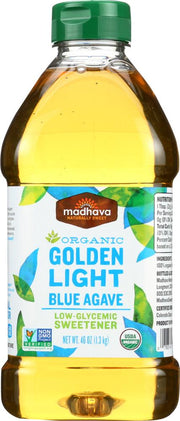 MADHAVA: Organic Golden Light Blue Agave, 46 oz - Kkdu Market