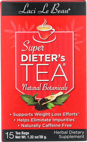LACI LE BEAU: Super Dieter's Tea All Natural Botanicals, 15 Tea Bags - Kkdu Market