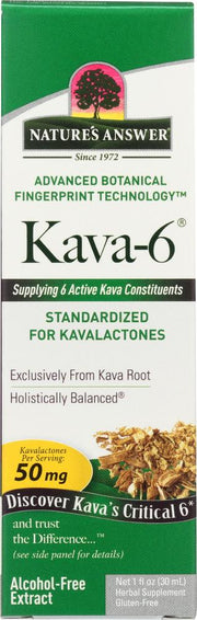 NATURE'S ANSWER: Kava-6 Alcohol-Free Extract 50 mg, 1 oz - Kkdu Market