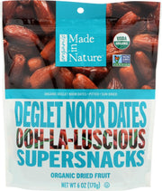 MADE IN NATURE: Delectable Delget Noor Dates Pitted Sun-Dried & Unsulfurated Organic 6 Oz - Kkdu Market