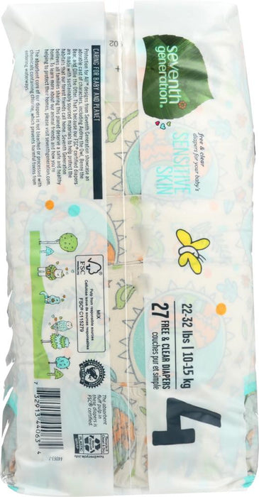 SEVENTH GENERATION: Baby Free & Clear Diapers Size 4 22-37 Pounds, 27 Diapers - Kkdu Market