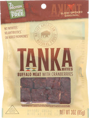 TANKA: Bites Buffalo Meat Cranberry Slow Smoked Original, 3 Oz - Kkdu Market