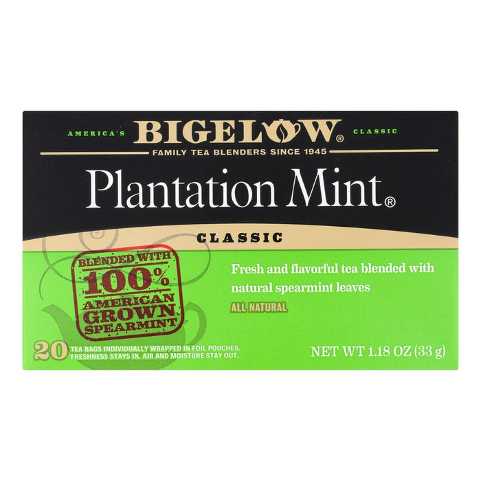 Bigelow Tea Plantation Mint Black Tea - Pack Of 6 - 20 Bags - Kkdu Market