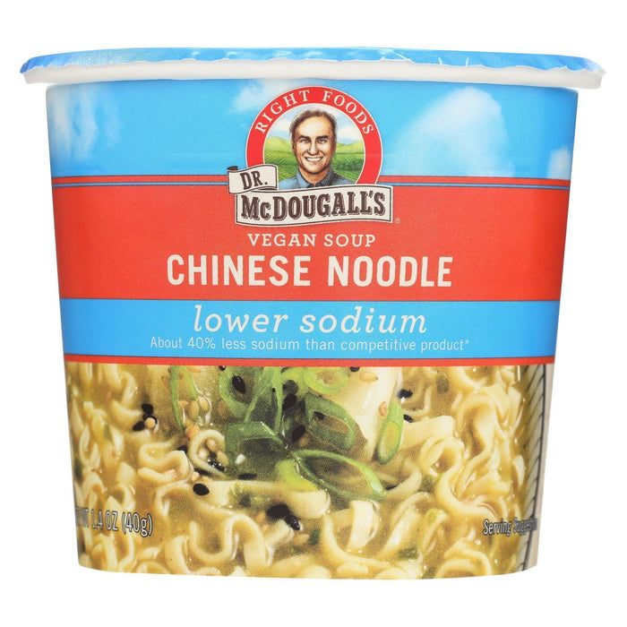 Dr. Mcdougall's Chinese Noodle Lower Sodium Soup Cup - Pack Of 6 - 1.4 Oz. - Kkdu Market