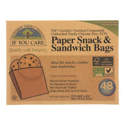If You Care Bags - Snack And Sandwich - Paper - Unbleached - 48 Count - Pack Of 12 - Kkdu Market
