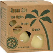 Aloha Bay Palm Wax Tea Lights With Aluminum Holder Cream - 12 Candles - Kkdu Market