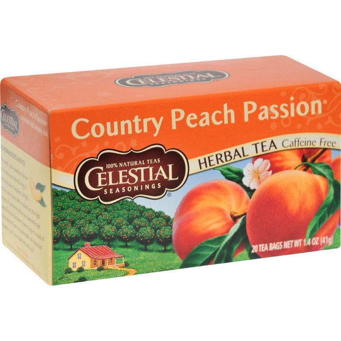 Celestial Seasonings Herbal Tea Caffeine Free Country Peach Passion - 20 Tea Bags - Pack Of 6 - Kkdu Market