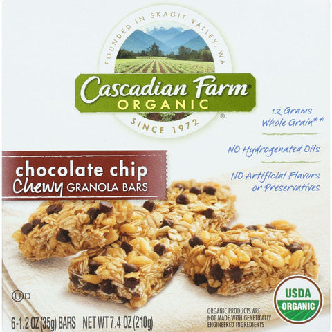Cascadian Farm Granola Bar - Organic - Chewy - Chocolate Chip - 7.4 Oz - Pack Of 12 - Kkdu Market