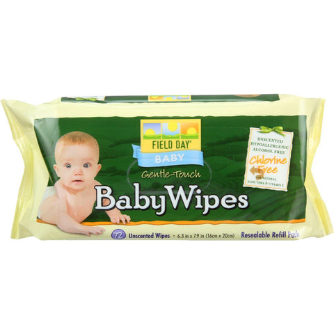 Field Day Baby Wipes - Refill For Tub - 72 Count - Pack Of 12 - Kkdu Market