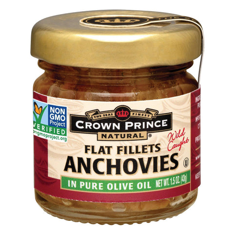 Crown Prince Flat Fillets Of Anchovies In Pure Olive Oil - Pack Of 18 - 1.5 Oz. - Kkdu Market