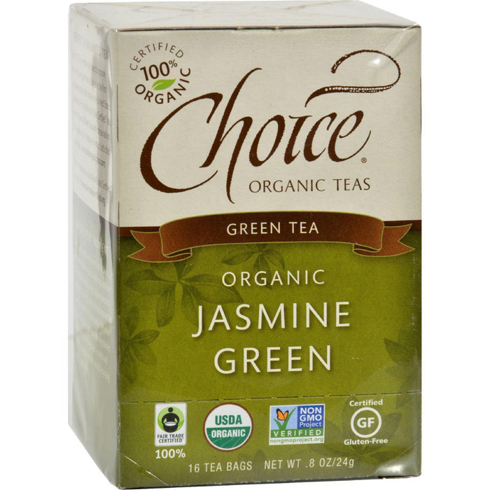 Choice Organic Teas Jasmine Green Tea - 16 Tea Bags - Pack Of 6 - Kkdu Market
