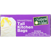 Natural Value Tall Kitchen Bags - Drawstring - 20 Count - Pack Of 12 - Kkdu Market