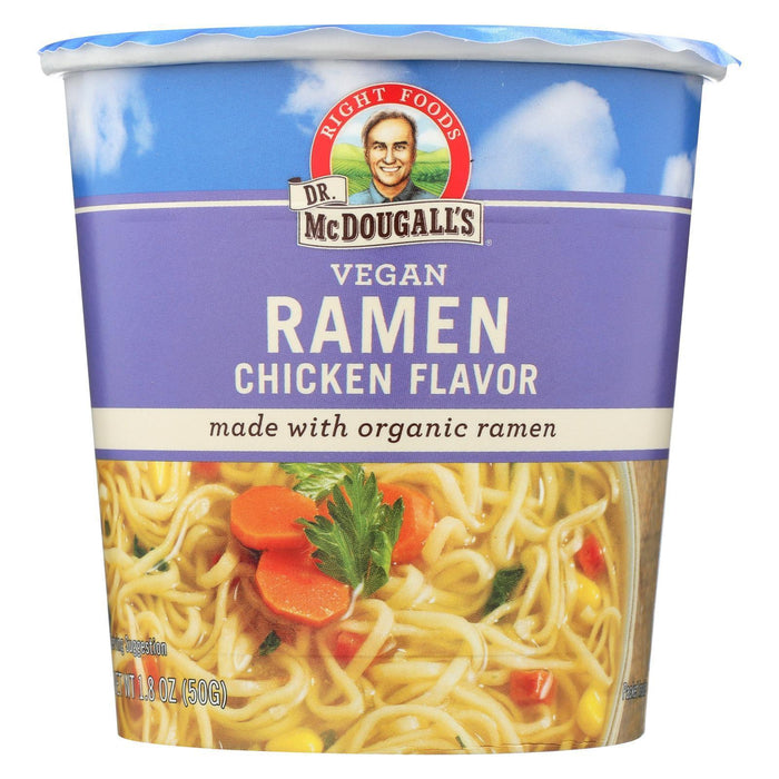 Dr. Mcdougall's Vegan Ramen Soup Big Cup With Noodles - Chicken - Pack Of 6 - 1.8 Oz. - Kkdu Market
