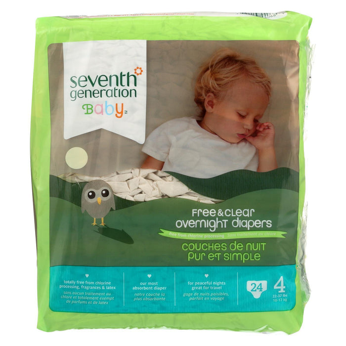 Seventh Generation Free And Clear Overnight Diapers - Stage 4 - Pack Of 4 - 24 Count - Kkdu Market