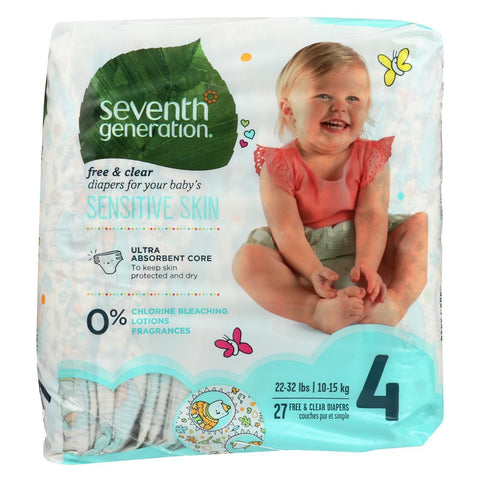 Seventh Generation Free And Clear Baby Diapers - Stage 4 - Pack Of 4 - 27 Count - Kkdu Market