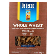 De Cecco Pasta Whole Wheat Fusilli Pasta - Pack Of 12 - 13.25 Oz. - Kkdu Market