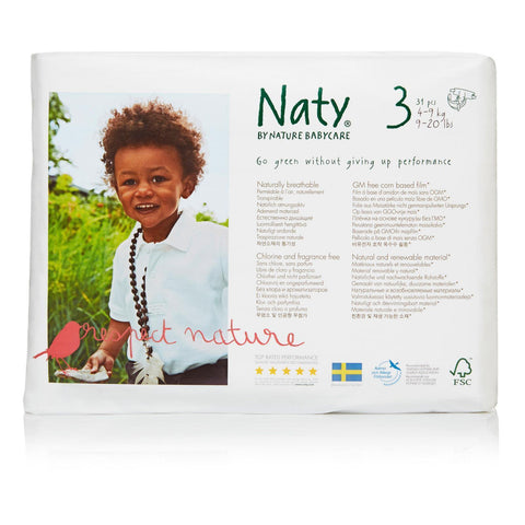 Naty - Baby Diaper Size 3 16-28lb - Pack Of 4 - 31 Ct - Kkdu Market