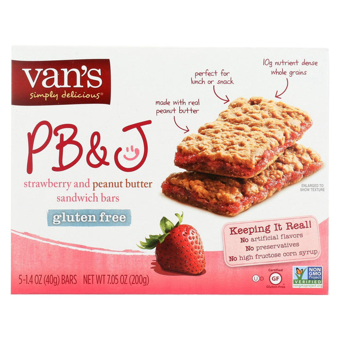 Van's Natural Foods Gluten Free Sandwich Bars - Strawberry And Peanuts Butter - Pack Of 6 - 1.4 Oz. - Kkdu Market