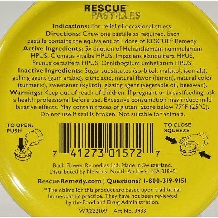 Bach Rescue Remedy Pastilles - Lemon - 50 Grm - Pack Of 12 - Kkdu Market