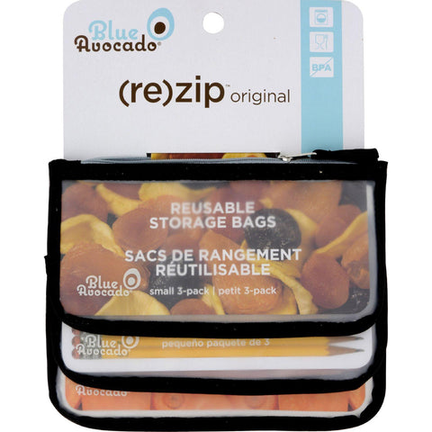 Blue Avocado Snack Zip Bag - Black - 3 Pack - Kkdu Market