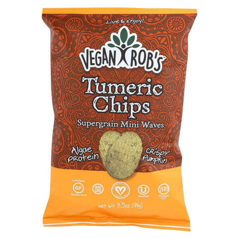 Vegan Rob's Supergrain Mini Waves Chips - Tumeric - Pack Of 12 - 3.5 Oz - Kkdu Market