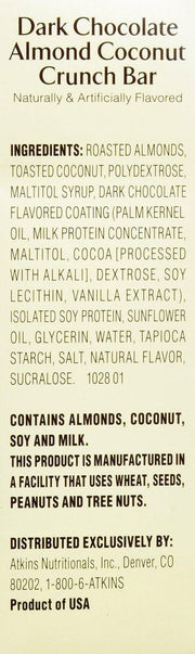 ATKINS: Snack Bar Dark Chocolate Almond Coconut Crunch (5x1.4oz bars), 7 oz - Kkdu Market