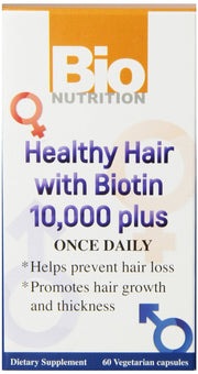 BIO NUTRITION: Healthy Hair with Biotin 10000 Plus, 60 vegetarian capsules - Kkdu Market