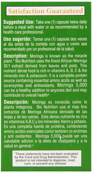 BIO NUTRITION: Moringa 5000 mg Super Food, 60 vegetarian capsules - Kkdu Market