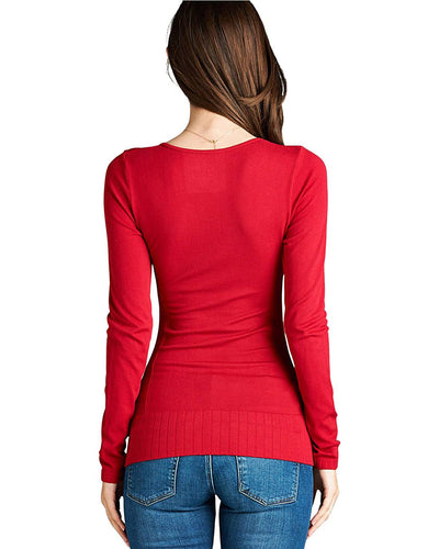 Ribbed knit round neckline top